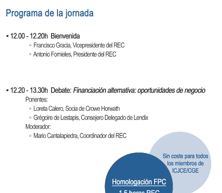 JORNADA REC FINANCIACIÓN ALTERNATIVA: OPORTUNIDADES DE NEGOCIO